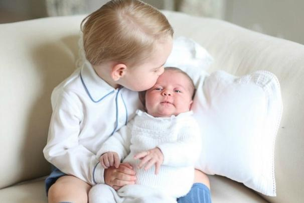Prince George with his newborn baby sister Princess Charlotte. Photo: Kate Middleton