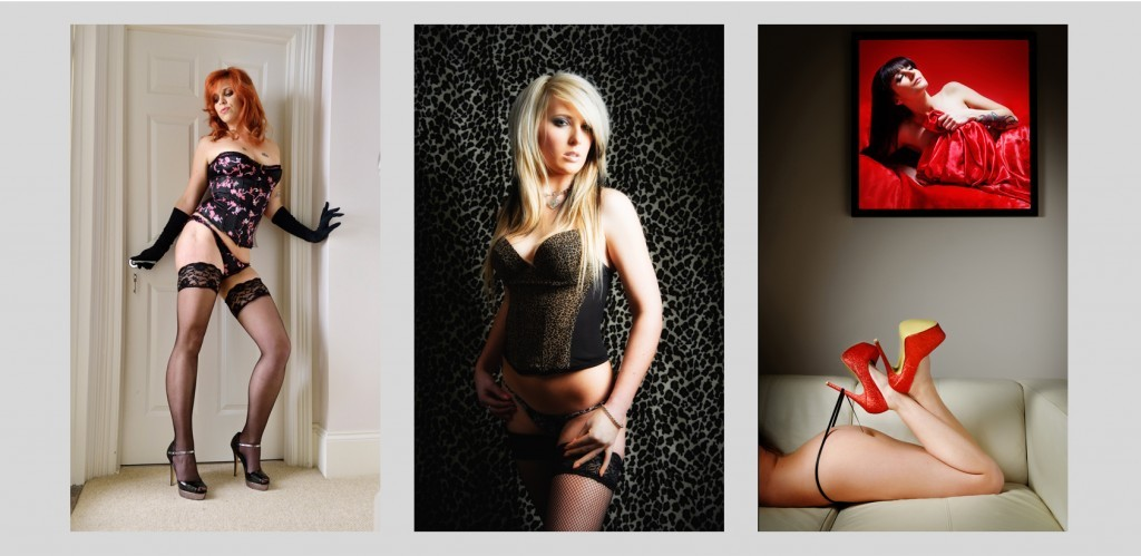 Three different boudoir shots