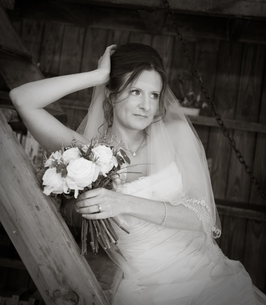 Winters Barn Country Wedding - bride with bouquet