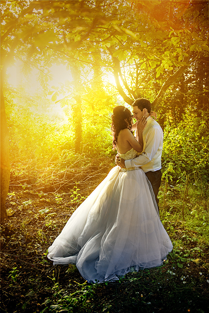 A bride and groom in woodland